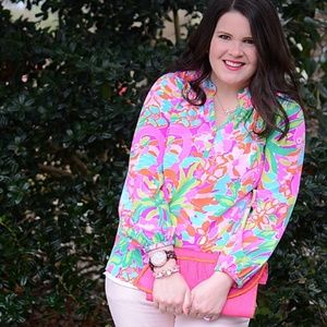 Lilly Pulitzer Elsa Silk Top - Lulu - Size M